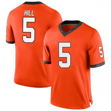 Men's Justice Hill Oklahoma State Cowboys Nike Game Orange Football College Jersey