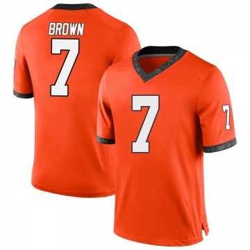 Men's LD Brown Oklahoma State Cowboys Nike Game Orange Football College Jersey