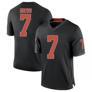 Men's LD Brown Oklahoma State Cowboys Nike Replica Black Football College Jersey