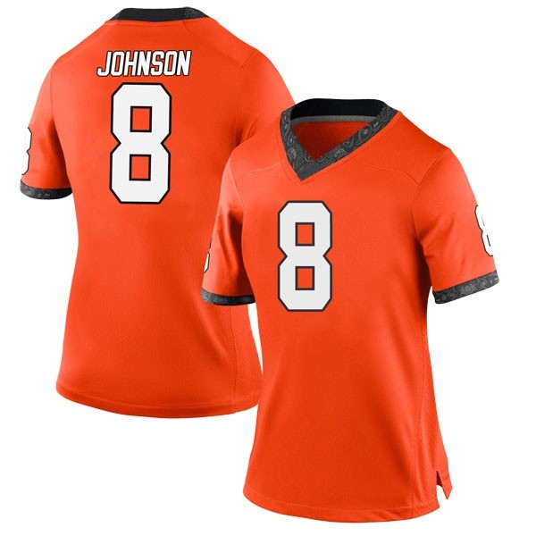 Women's Braydon Johnson Oklahoma State Cowboys Nike Game Orange Football College Jersey